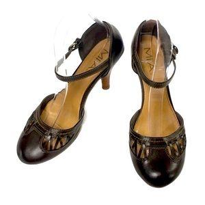 MIA Brown Valencia Ankle Strap Heels Size 8.5